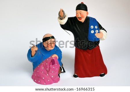 Chinese puppet collection the grandmother and the grandfather, - stock photo