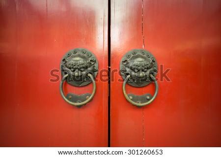 Chinese Red door  - stock photo