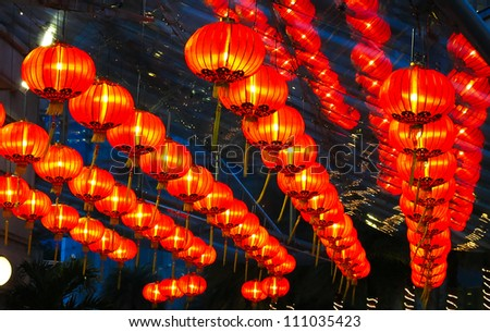 Chinese red lamps under the roof - stock photo