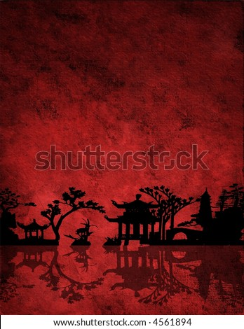 Chinese Red Landscape - stock photo