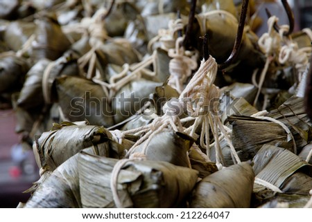 Chinese Rice Dumplings in market - stock photo
