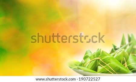 Chinese Rice Dumplings on Colorful Background - stock photo
