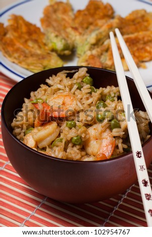Chinese rice with vegetables and shrimp - stock photo