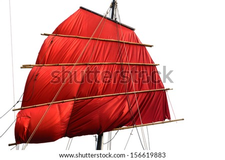 Chinese Sail on white background - stock photo