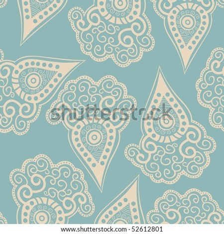 Chinese seamless pattern with paisley. Vector version is in my portfolio. - stock photo
