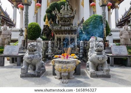 Chinese shrine at Wat Suthat Thepwararam, Bangkok - stock photo