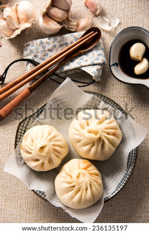Chinese Steamed Buns with Dipping Sauce - stock photo