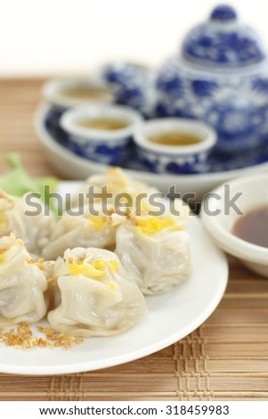 Chinese steamed dumplings. rice or wheat dough enclosing minced meat and steamed. Chinese snack.  - stock photo