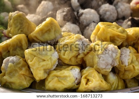 Chinese steamed pork dumplings - Siu Mai - stock photo
