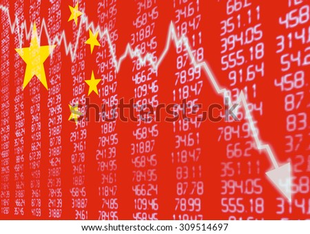 Chinese Stock Market - Arrow Graph Going Down on Red Chinese Flag - stock photo