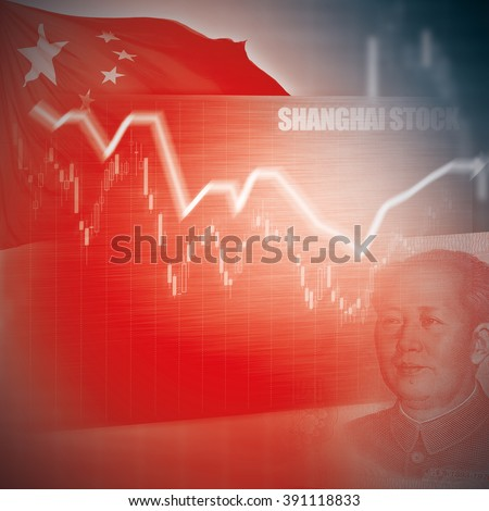 Chinese Stock Market - Arrow Graph on Red Chinese Flag and money - stock photo