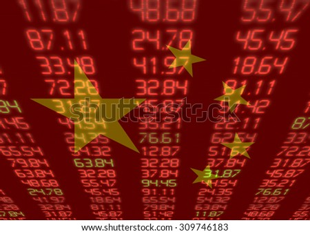 Chinese Stock Market - Red and Green Figures with Chinese flag - stock photo