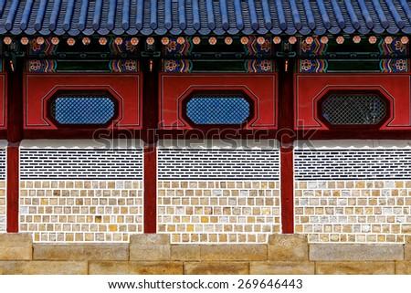 Chinese-style brick wall close up - stock photo