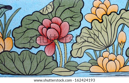 Chinese style painting on wall of shrine in Thailand. Generality in Thailand, any kind of art decorated in Buddhist church or shrine etc. created with money donated by people, no restrict in use.  - stock photo