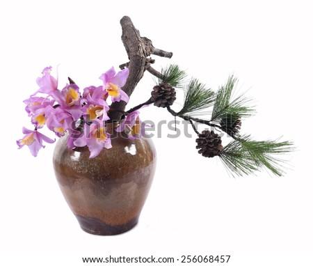 Chinese-style vase flower arrangement - stock photo