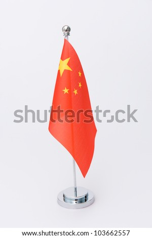 Chinese table flag isolated on white - stock photo