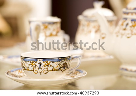 Chinese Tea Cup made of porcelain close up - stock photo