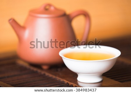 Chinese tea set on the tray,Closeup. - stock photo