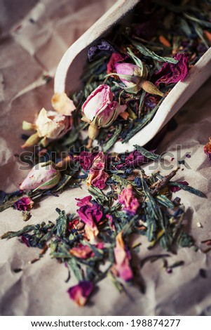 Chinese tea with rose buds closeup image - stock photo
