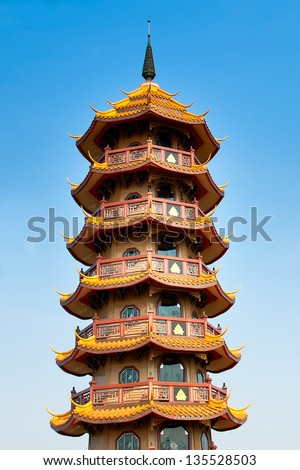 Chinese temples pagoda at Thailand - stock photo