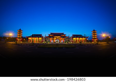 chinese traditional building at twilight time - stock photo