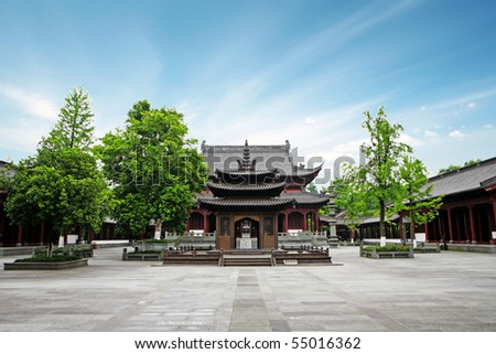 chinese traditional building structure in a temple - stock photo