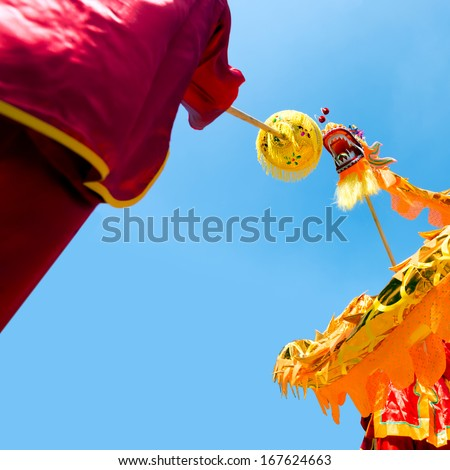 Chinese traditional dragon dance festival - stock photo