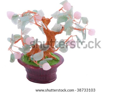 Chinese traditional lucky tree made of gems - stock photo
