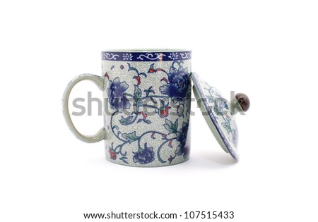 Chinese Traditional Mug isolated on white - stock photo