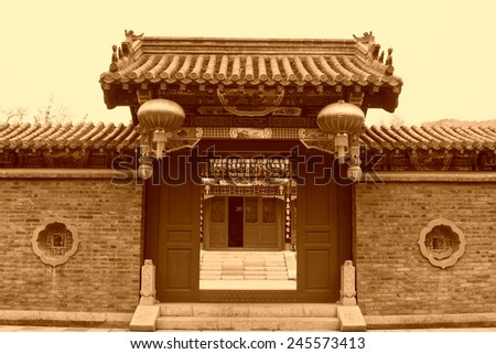 Chinese traditional style of temple architecture in Baiyang Valley, Qian'an City, Hebei Province, China - stock photo