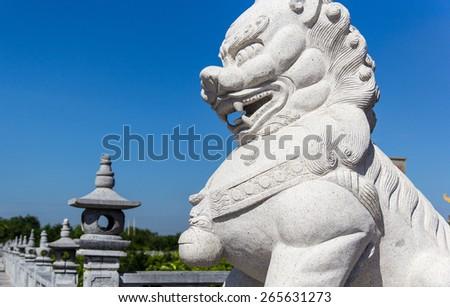 chinese unicorn statue - stock photo