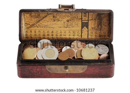 Chinese varnished chest full of coins - isolated on white - stock photo