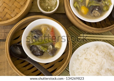 Chinese vegetable soup with rice - stock photo