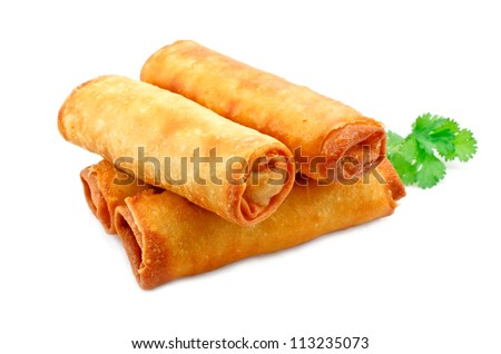 Chinese Vegetable spring rolls a great side order at chinese restaurants - stock photo