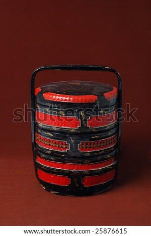 Chinese wood wedding basket - stock photo
