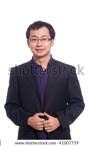 Chinese young business man in purple polo shirt and black suite - stock photo