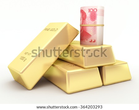 Chinese yuan banknote roll and gold bars - stock photo