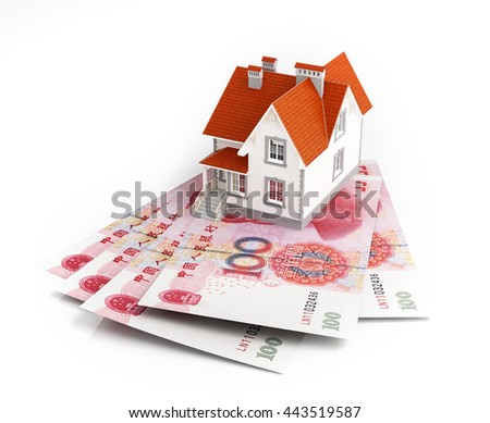 Chinese yuan banknotes under house. 3d rendering. - stock photo