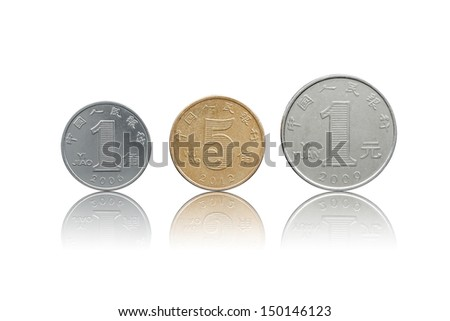 Chinese Yuan coins set back side isolated on white with refleciton - stock photo