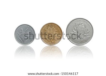 Chinese Yuan coins set front side isolated on white with refleciton - stock photo