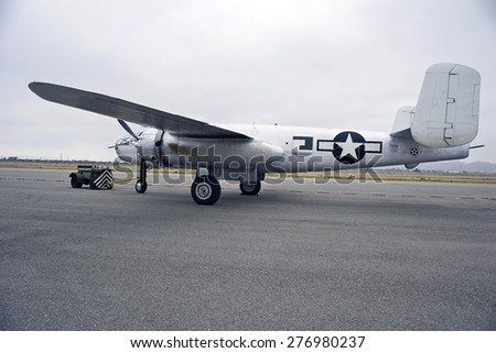 CHINO/CALIFORNIA - MAY 3, 2015: Vintage Military Aircraft on the tarmac at the Planes of Fame Airshow in Chino, California USA - stock photo