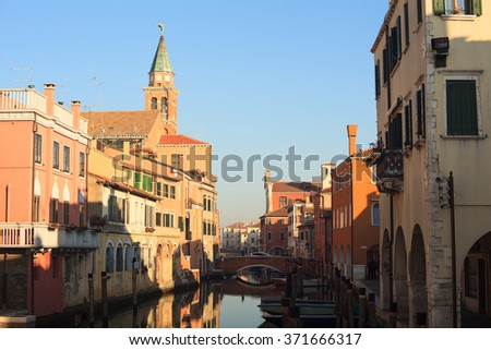 CHIOGGIA, ITALY - JANUARY, 01: View of Chioggia, little town in the Venice lagoon on January 01, 2016 - stock photo