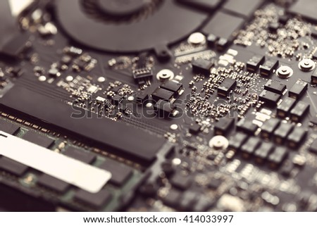 Chip of laptop, closeup. Open notebook ready to repair