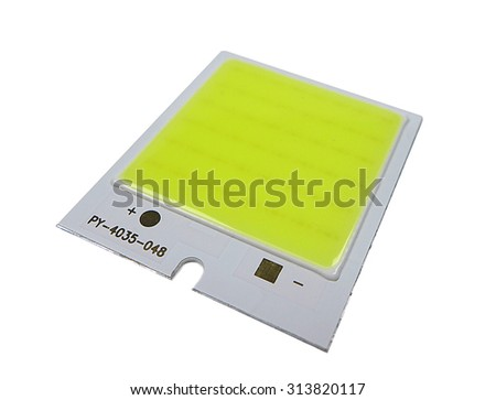 Chip On Board LED Panel isolated on white - stock photo