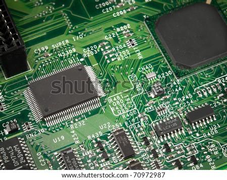 Chip. processor, transistor, on pcb - stock photo