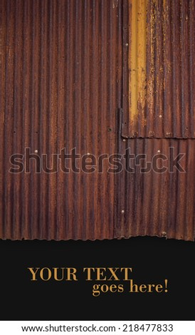 Chipped rusty metal texture, scratched yellow paint, grunge background. Copy Space at the bottom. - stock photo