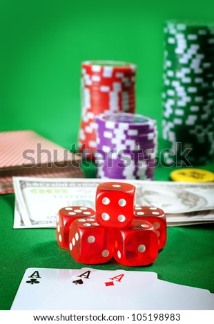 chips and card for poker - stock photo