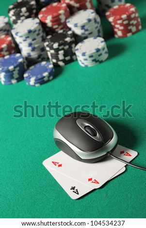 Chips and cards poker in an online environment. - stock photo
