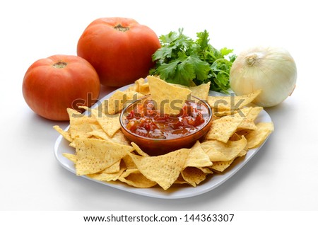Chips  and Salsa with Onion Tomato and Cilantro - stock photo