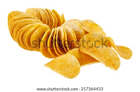chips are isolated on a white background - stock photo